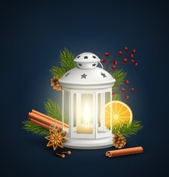 Christmas lantern with spices on dark blue vector