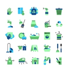 Cleaning flat color icons set vector