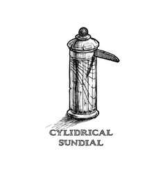 cylindrical sundial vector image vector image