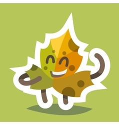 Emoticon Icon Friendly Maple Leaf vector image vector image