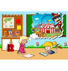Girls working in the classroom vector image