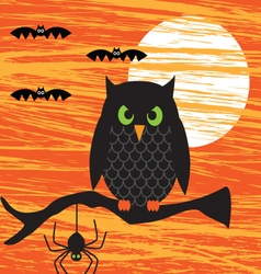 halloween owl on branch vector image vector image