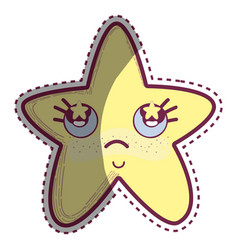 kawaii star thinking with cheeks and stars inside vector image vector image