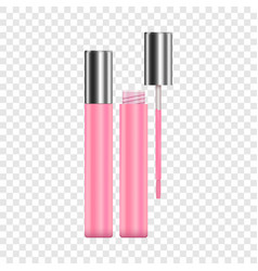 lipstick pink sparkling tubes mockup vector image vector image