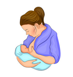 Mother and child breastfeeding vector