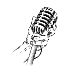 Old microphone in hand made in engraving style vector