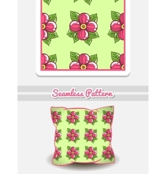 Pillow pink flowers on green vector