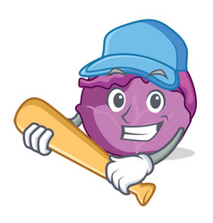 Playing baseball red cabbage character cartoon vector