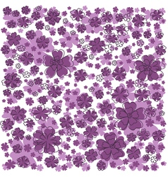 Purple pattern with lined and colored flowers vector