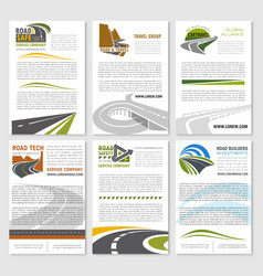 Road travel company posters set vector