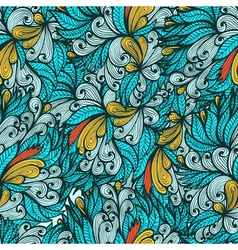 Seamless blue hand drawn floral pattern vector image vector image
