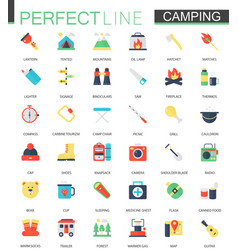 set of flat camping hiking icons vector image vector image