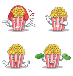 Set of popcorn character with listening call me vector