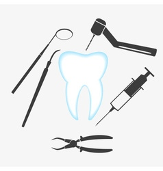 Tooth and dental examination tools set eps10 vector