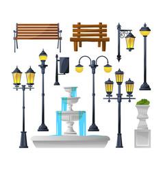 urban elements set street lamps fountain park vector image vector image