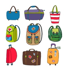 Variety luggage bags backpacks and suitcases vector