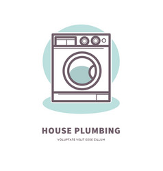 Washing machine icon house plumbing equipment logo vector