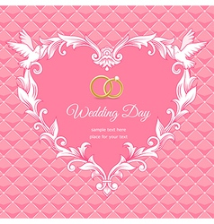 Wedding heart frame pink vector image vector image