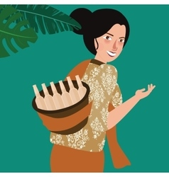 woman bring traditional drink in Indonesia vector image vector image