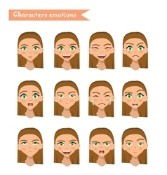 woman emotion face set vector image vector image