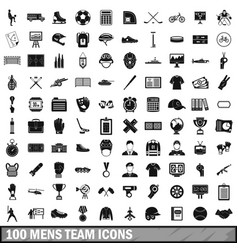 100 mens team icons set simple style vector image