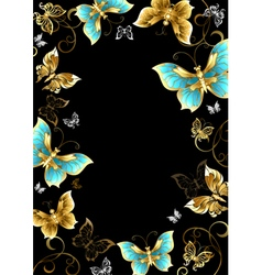 Frame with gold butterflies vector