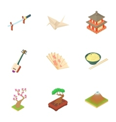 Holiday in south korea icons set cartoon style vector