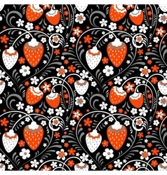 Strawberry fields in Russian Folk Style vector image