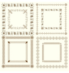 Collection of vintage calligraphic square frames vector