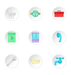 Sanitary appliances icons set cartoon style vector