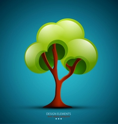 Tree on a blue background design element vector