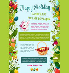 Easter day happy holiday greeting poster template vector