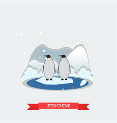 Funny penguins on arctic vector