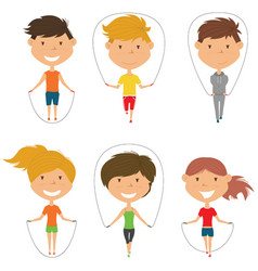 Cute boys and girls skipping rope set vector