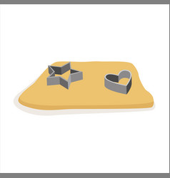 Raw dough for cookies and cookie cutters vector
