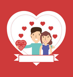 Couple lover and romantic relationship with hearts vector