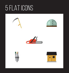 Flat icon garden set of stabling pump cutter and vector