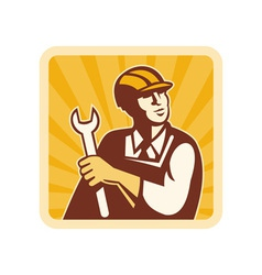 Construction worker engineer mechanic holding vector image