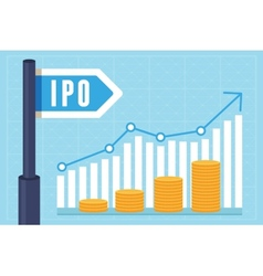 Ipo initial public offering concept vector