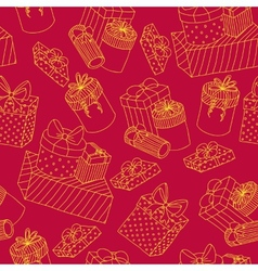 Red seamless pattern with boxes of presents vector