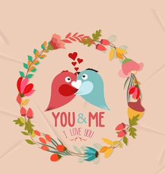 Valentines day cute retro flowers wreath and bird vector