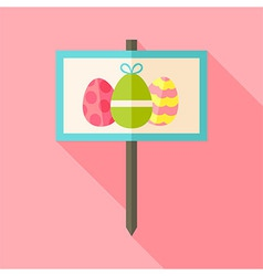 Gardening sign with easter eggs vector