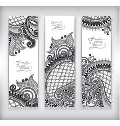 set of grey decorative flower template banner vector image