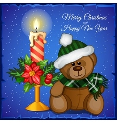 Plush christmas bear with candle vector