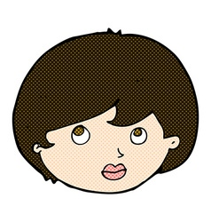Comic cartoon female face looking upwards vector