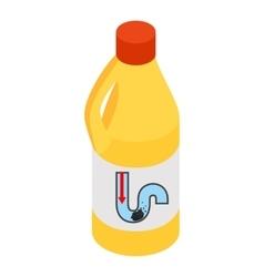 Yellow container of drain cleaner vector