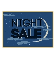Night sale and discount cartoon banner vector