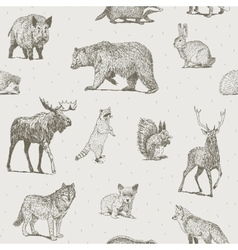 Animals drawings seamless pattern vector image vector image