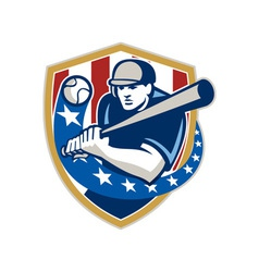 Baseball Hitter Batting Stars Stripes Retro vector image