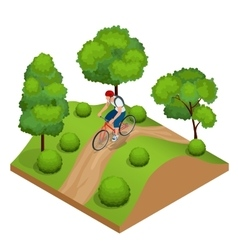 Biker in forest cycling on track from behind vector